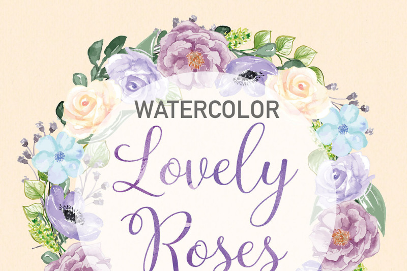 watercolor-rose-anemone-wreath-clipart-peach-watercolor-flower-purple-floral-clipart-leaf-clipart-wedding-clip-art-wedding-invitation