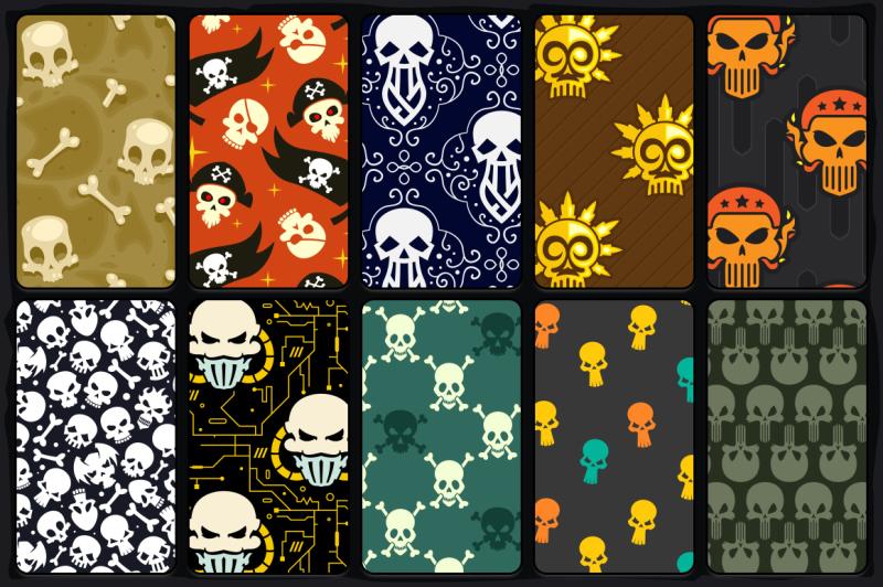 20-skull-seamless-vector-patterns