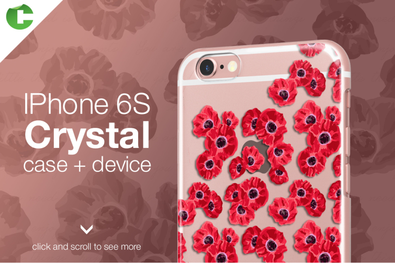 Free Iphone 6/6S crystal case + device (PSD Mockups)