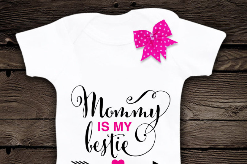 Mommy Is My Bestie Svg File Cutting File Clipart In Svg Eps Dxf Png For Cricut Silhouette By Blackcatssvg Thehungryjpeg Com