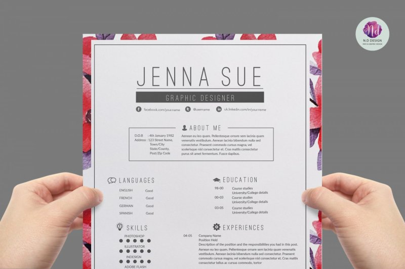 Floral resume template , cover letter template ...