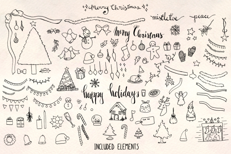 Merry Christmas 120 Holiday Illustrations Vector Graphics