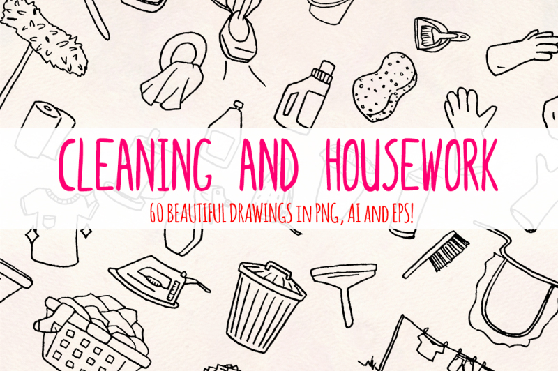 cleaning-60-housework-illustrations-vector-graphics-bundle