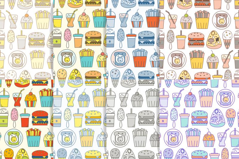 fast-food-seamless-pattern-set