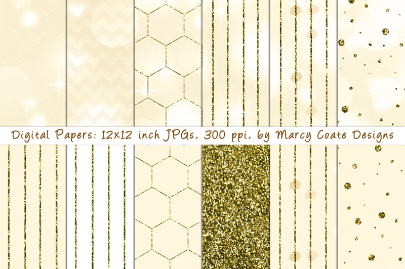 ecru-bokeh-and-gold-glitter-papers