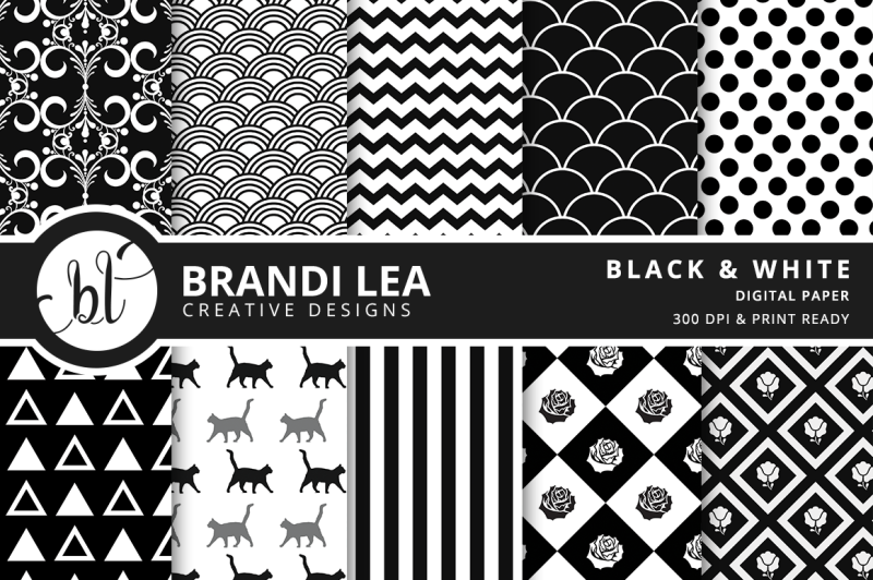 black-and-white-patterned-digital-paper