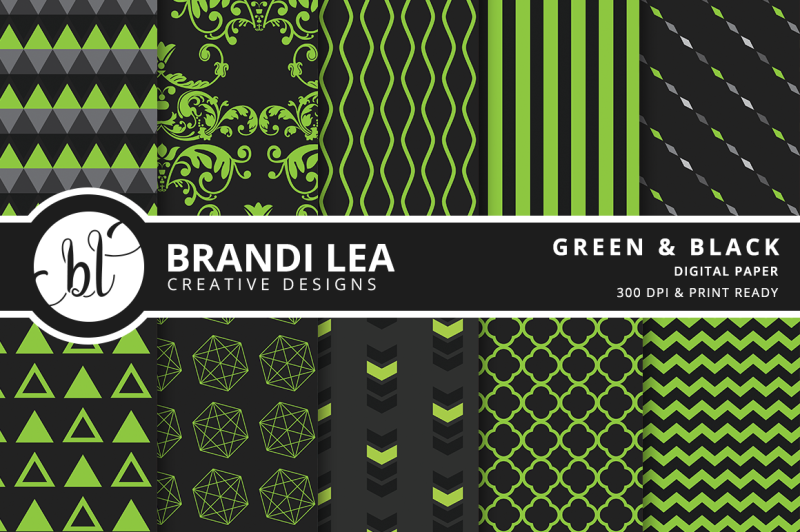 green-and-black-patterned-digital-paper