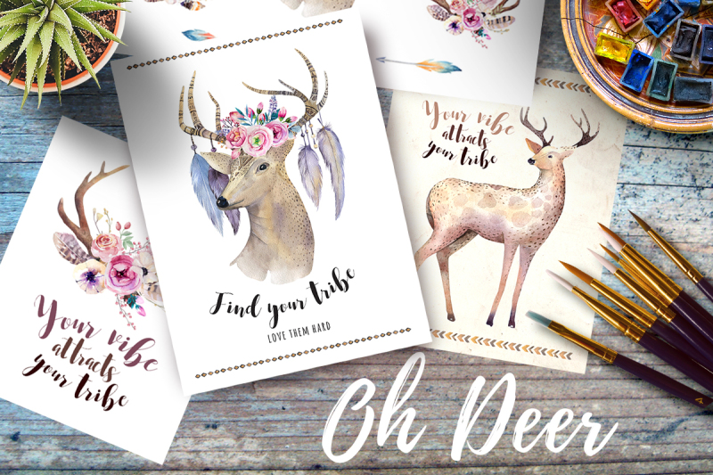 watercolor-deers-and-horns-bohemian-style