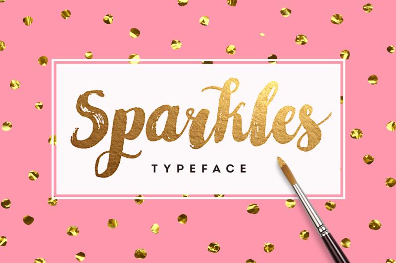 sparkles-brush-font-foil-texture