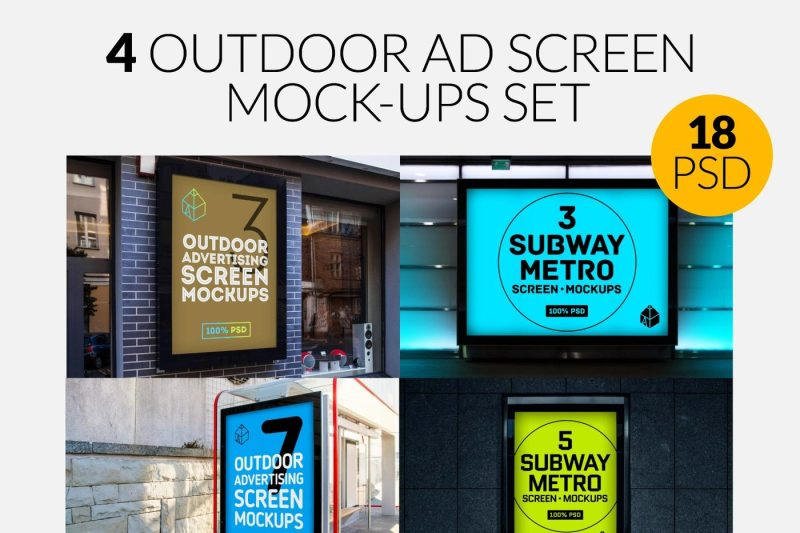 4-outdoor-ad-screen-mock-ups-set-bundle