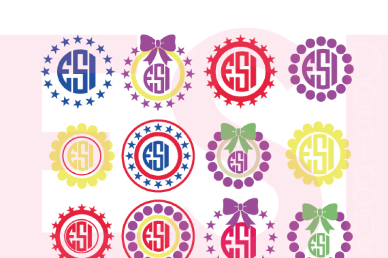 polka-dot-and-star-circle-monogram-frames-svg-dxf-eps-cutting-files