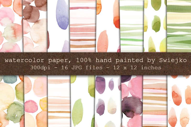 watercolor-digital-paper-stripes-dots-brush-strokes-bubbles-hand-painted-background