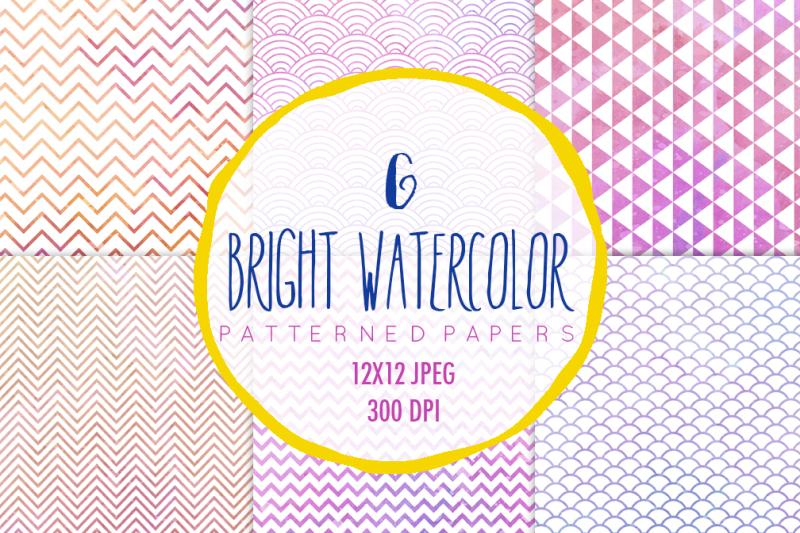 watercolor-patterns-digital-paper-set
