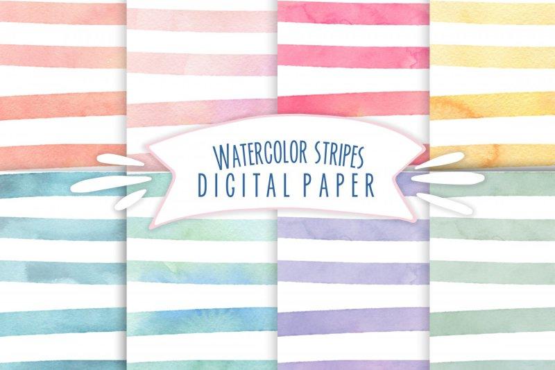 watercolor-stripes-digital-paper