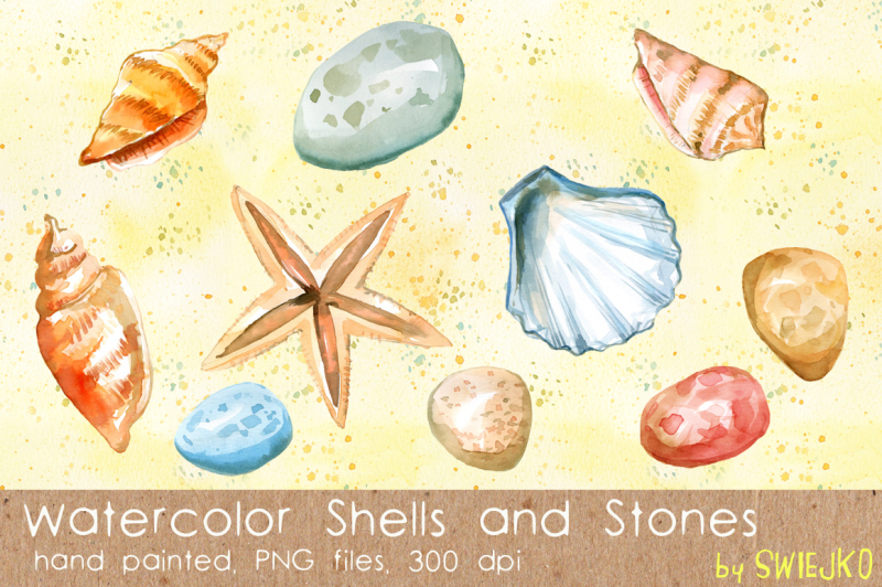 summer-clipart-digital-shells-stones-starfish-sand-repeatable-background-watercolor-clipart