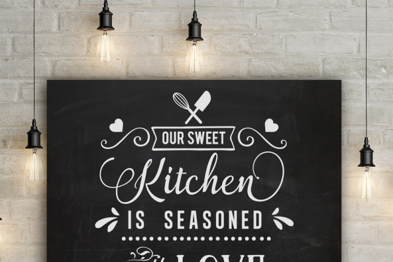 Our Sweet Kitchen Is Seasoned With Love Svg By Blackcatssvg