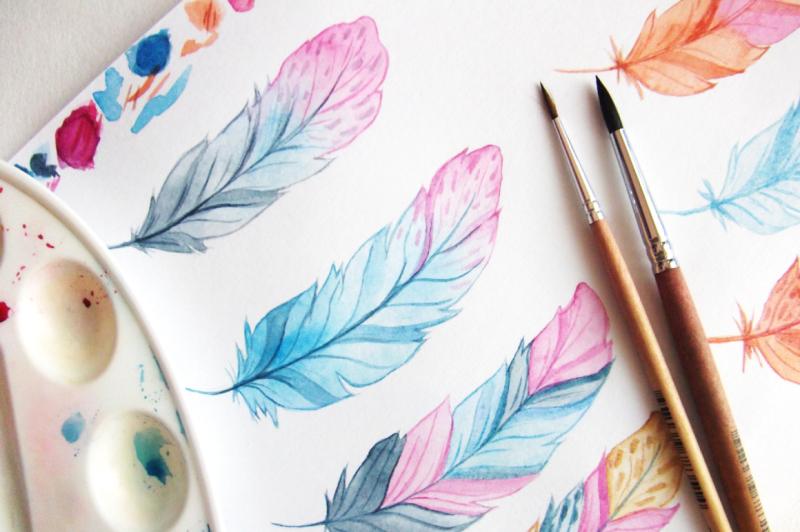 watercolor-boho-feathers-set