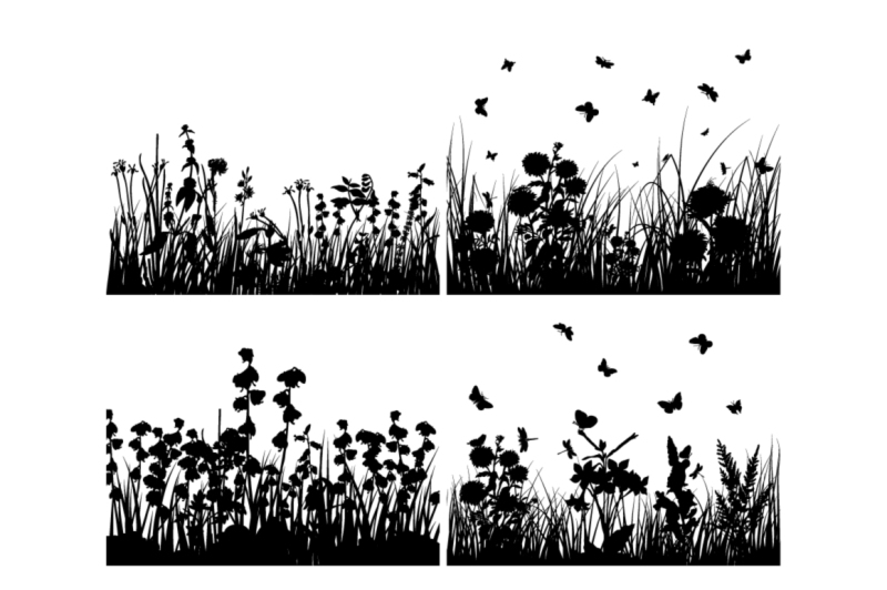 set-of-grass-silhouettes