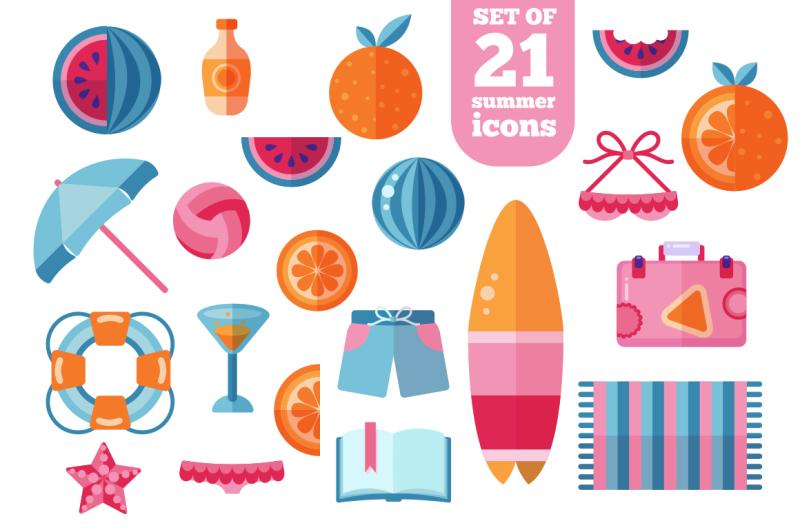 trendy-summer-beach-flat-icons-set