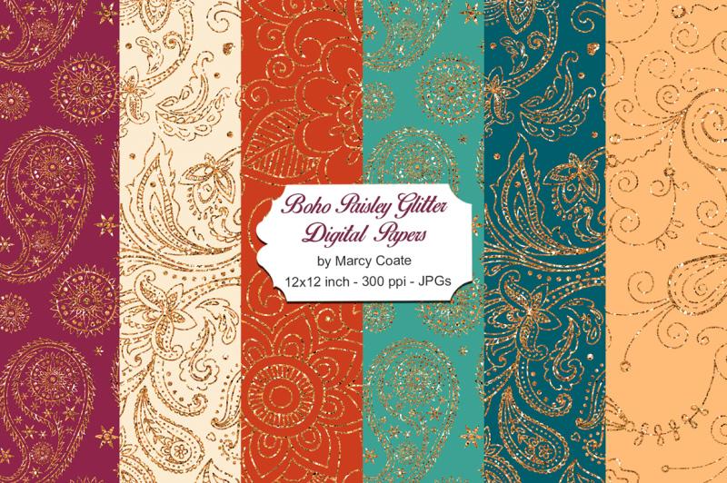 boho-paisley-glitter-digital-papers