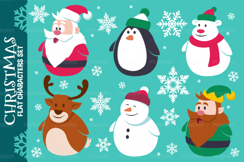 christmas-cute-flat-characters-set