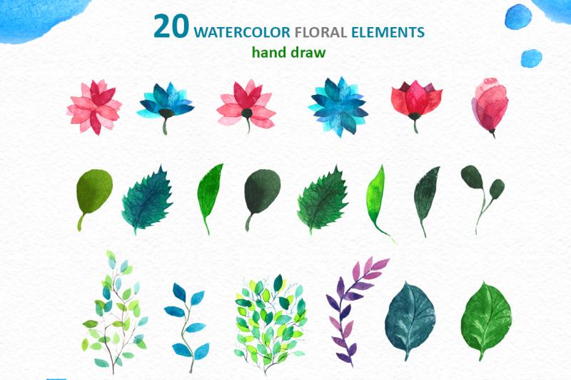watercolor-floral-set