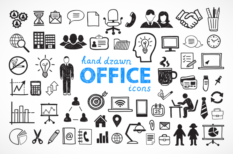 60-hand-drawn-office-icons