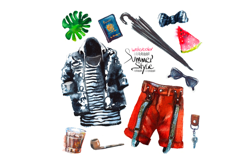 set-of-trendy-look-watercolor-clothe