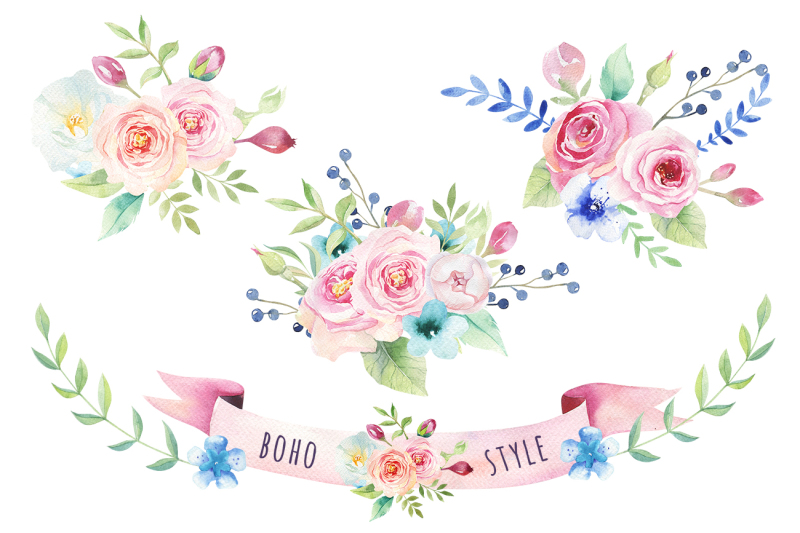 watercolor-boho-flowers