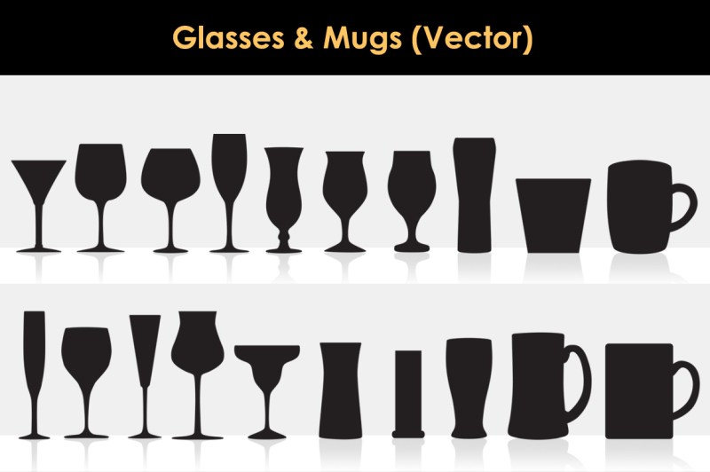 glasses-and-mugs-vector-silhouettes