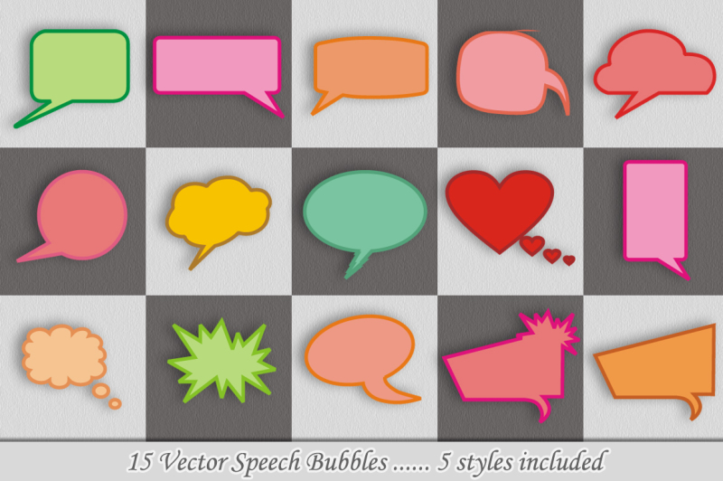 15-speech-bubbles-5-styles-vector
