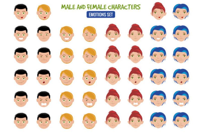 cartoon-people-emotion-set