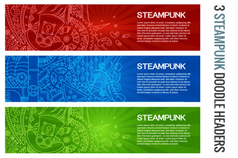 Steampunk Doodle Banners