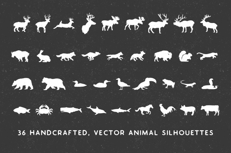 handmade-animal-silhouette-pack-vector
