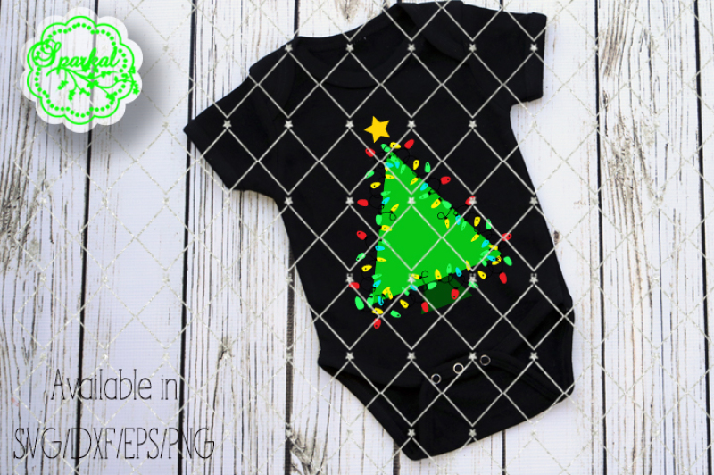 Christmas Tree With Lights Svg Eps Dxf Png By Sparkal Designs Thehungryjpeg Com