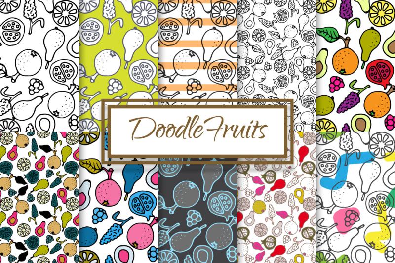 hand-drawn-ink-doodle-fruit-patterns