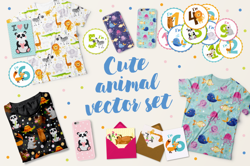 cute-kids-set-with-animals