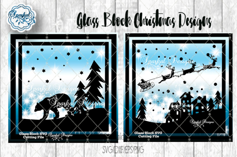 Glass Block Christmas Designs Svg Dxf Eps Png By Sparkal Designs Thehungryjpeg Com