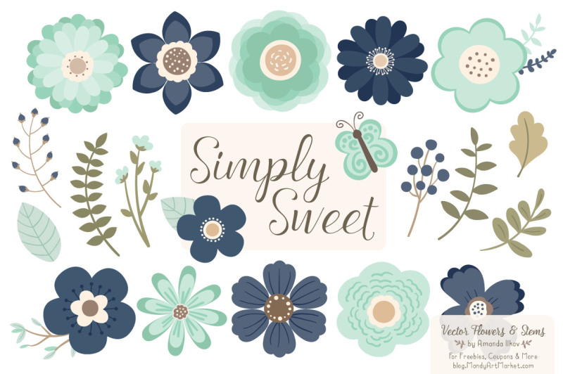 simply-sweet-vector-flowers-and-stems-clipart-in-navy-and-mint