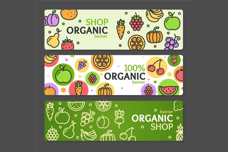 eco-shop-banner-horizontal-set-vector