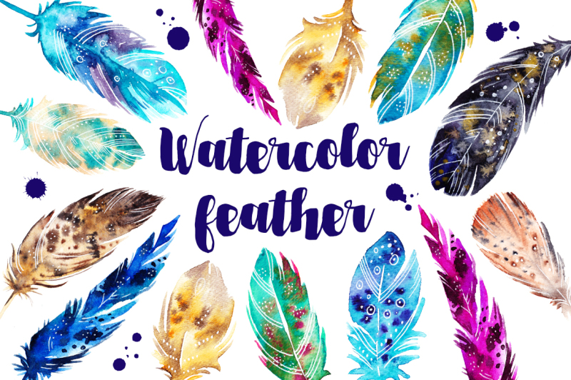 watercolor-feather-set