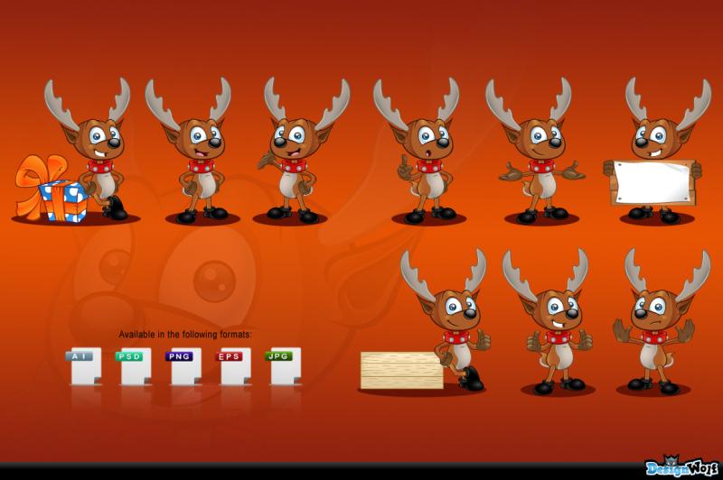 reindeer-mascot-in-9-poses