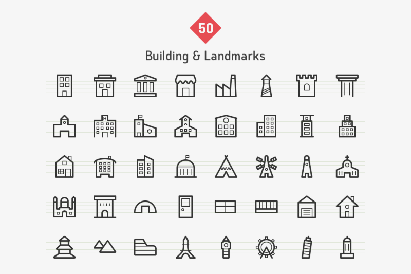 building-and-landmark-line-icons
