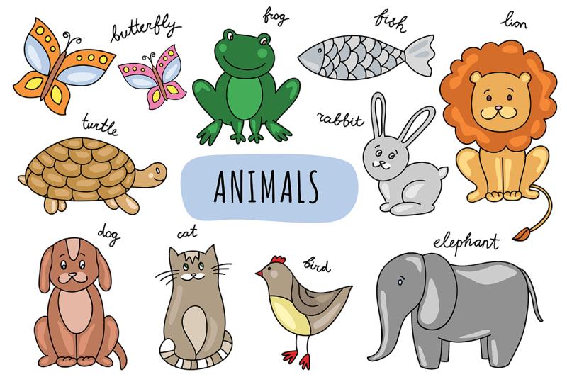 vector-hand-drawn-animals-amp-pattern