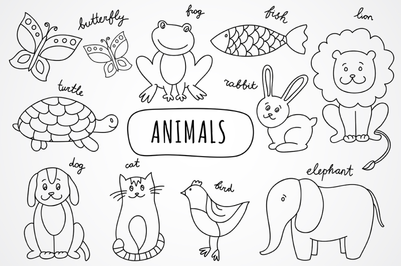 vector-hand-drawn-animals-and-pattern