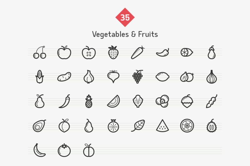 vegetables-and-fruits-line-icons