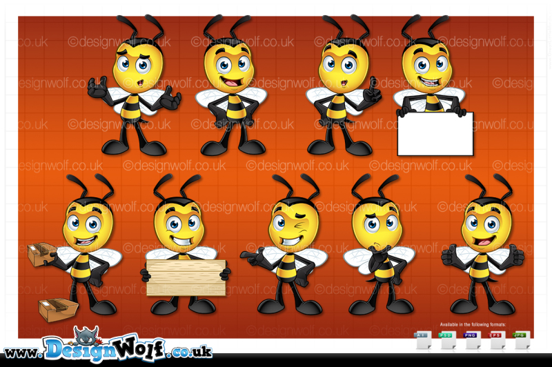 little-bee-character-in-9-poses