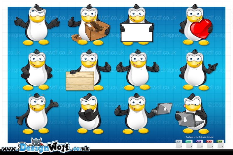 penguin-character-in-12-poses
