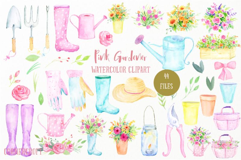 watercolor-clip-art-pink-gardener