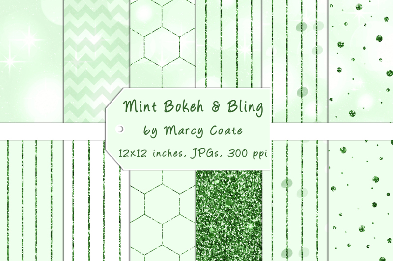 mint-bokeh-and-green-glitter-digital-papers